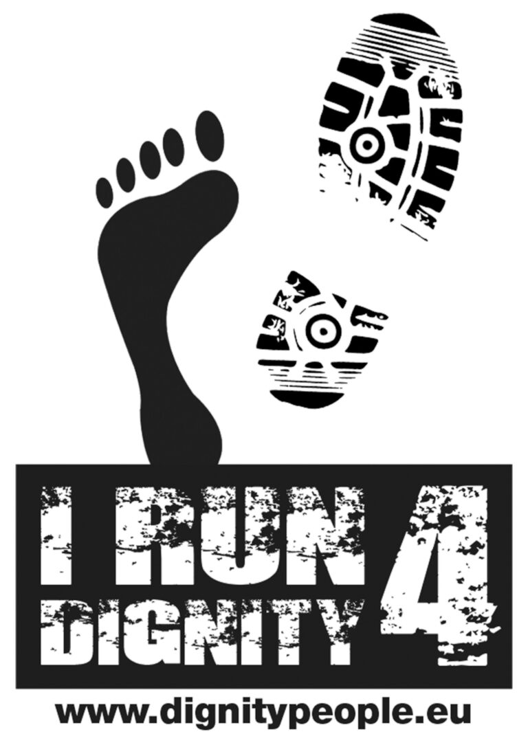 logo I RUN FOR DIGNITY nero